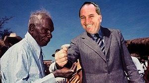Joyce giving Gurindji land back to its traditional owners (1975).